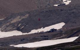זירת התרסקות המטוס באלפים השוויצריים