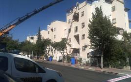 הבניין שנפגע ממנוף במודיעין עלית