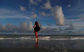 חוף הים לפני הגעת הוריקן פלורנס
