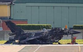 מטוס ה-F-16 הבלגי שהושמד על הקרקע