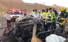 """צוות זק""""א בתאונה הקשה בכביש 90"""