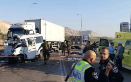זירת התאונה סמוך לצומת פצאל