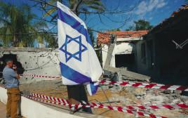 אחד הבניינים שנפגעו מהרקטות
