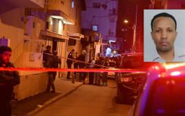 זירת אירוע הרצח בשכונת התקווה בתל אביב, בתמונה הקטנה: החשוד ברצח, טספברהן טספסיון