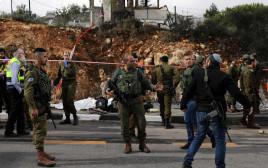 זירת הפיגוע בגבעת אסף