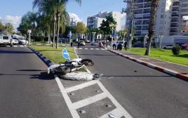 זירת התאונה בכניסה לנהריה