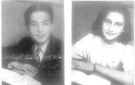 תיאו קוסטר לצד אנה פרנק בתמונת המחזור הכיתתית