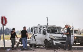 """הרכב שנפגע מנ""""ט בעוטף עזה בו נהרג משה פדר"""