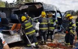 זירת התאונה סמוך לצומת שילת