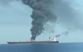 מכלית שנפגעה במפרץ הפרסי