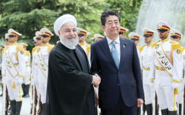 נשיא איראן חסן רוחאני ושינזו אבה ראש ממשלת יפן