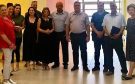 אנשי ״קרן שלם״, ריבה מוסקל מימין ואלי דוקרסקי במרכז.