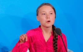 """גרטה טונברי נואמת בוועידת האקלים של האו""""ם"""