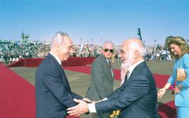 שמעון פרס, חוסיין מלך ירדן, חתימת הסכם השלום עם ירדן צילום יעקב סער לע''מ