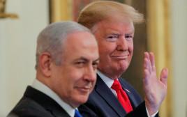 טראמפ ונתניהו בעת ההכרזה על תוכנית השלום