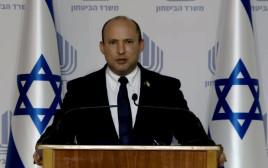 שר הביטחון נפתלי בנט במסיבת עיתונאים