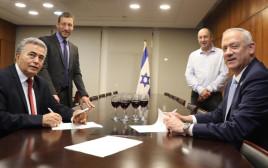 חתימה על הסכם קוליציוני בין מפלגת העבודה וכחול לבן