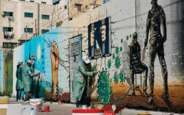 ציורי קיר בעזה המוקדשים לאסירים הפלסטינים