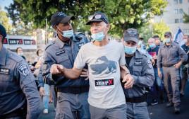 מעצר מפגינים במהלך המחאה נגד ראש הממשלה נתניהו
