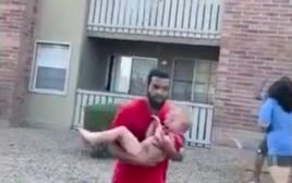 תיעוד תינוק ניצל משריפה לאחר שהושלך ע״י אימו