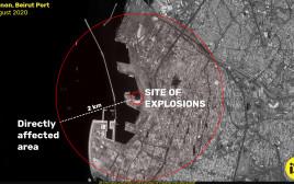 תמונת לוויין של אזור הפיצוץ של חברת אימאג'סאט
