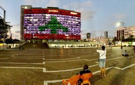 דגל לבנון על עיריית תל אביב