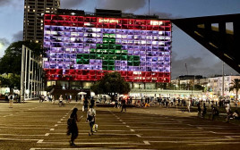 """דגל לבנון מוצג על עיריית ת""""א"""