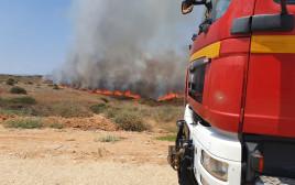 שריפה שפרצה בעוטף כתוצאה משיגור בלוני תבערה