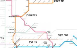 מפת הרכבת הקלה והמטרו בגוש דן