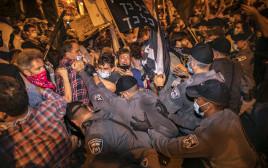 ההפגנה סמוך למעון ראש הממשלה בבלפור
