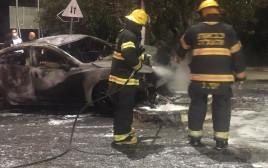 הרכב השרוף לאחר התאונה בחיפה