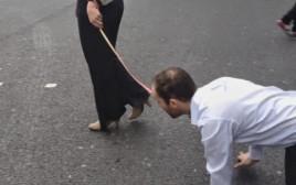 אישה מוליכה גבר ברצועה, אילוסטרציה