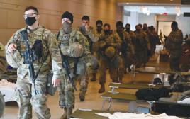 חיילים נערכים לטקס ההשבעה בוושינגטון