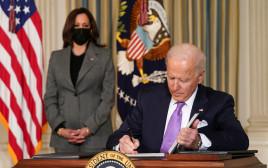 ג'ו ביידן בבית הלבן עם קמלה האריס
