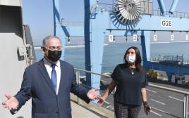 נתניהו ומירי רגב בסיור בנמל חיפה