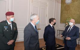 הנשיא ריבלין והרמטכ''ל כוכבי בפגישה עם נשיא צרפת מקרון