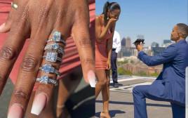 הצעת נישואין עם חמש טבעות אירוסין שונות
