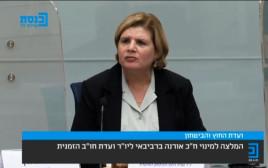 אורנה ברביבאי בוועדת חוץ וביטחון הזמנית
