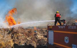 שריפה בעוטף עזה כתוצאה מבלון ששוגר מהרצועה