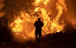 שריפת ענק שפרצה באי איווה ביוון