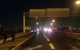 זירת התאונה הקטלנית בכביש 1