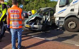 זירת התאונה בכביש 411