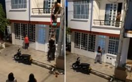 המאהבת ניסתה לברוח מהמרפסת, אך נתפסה
