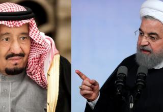 נשיא איראן רוחאני (מימין) והמלך סלמאן