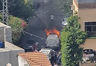 שריפת ניידת המשטרה בדיר אל-אסד