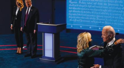 טראמפ וביידן עם נשותיהם בעימות בקליבלנד(צילום: טראמפ וביידן עם נשותיהם בעימות בקליבלנד)