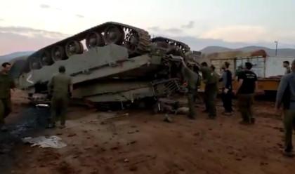 הטנק לאחר ההתהפכות בבקעה צילום מסך טוויטר