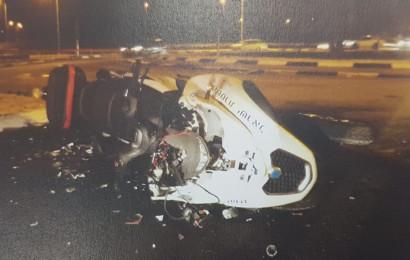 האופנוע של השוטר שנפגע בתאונה