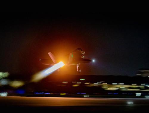 """מטוס F-35 """"אדיר"""" ממריא מארה""""ב ארצה"""