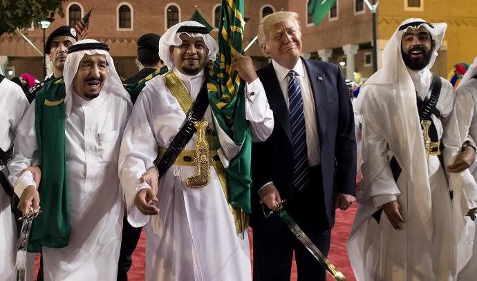 דונלד טראמפ והמלך סלמן מערב הסעודית